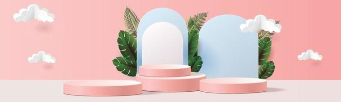 podium mockup tropical netural  showcase and blue background for product vector