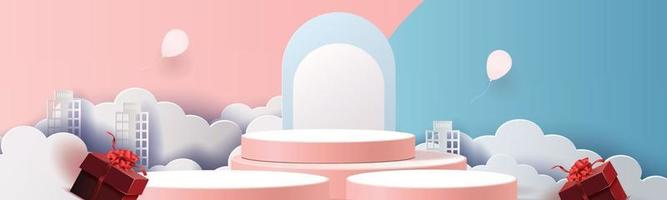 3d podium pink modern background and gifts box illustration vector