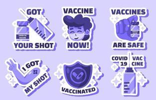 después de las colecciones de pegatinas de vacunaciones vector
