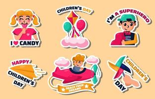Happy Childrens Day Sticker Collections vector