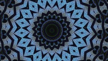 Tiled Blue and Black Vivid Kaleidoscopic Background video