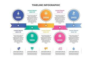 Colorful Gradient Timeline Infographic Chart vector