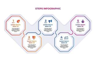 Colorful Gradient Steps Infographic Chart vector