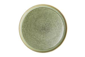 Green ceramic plate on a white background photo