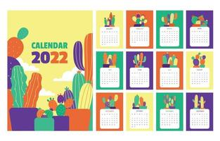2022 Calendar with Colorful Cactus vector