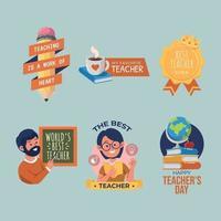 Set of Teachers Day Sticker vector
