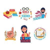 Set of Teacher Day Sticker vector
