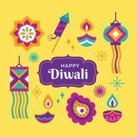 Happy Diwali Icon Set vector