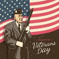 Happy Veterans Day In Retro Style vector