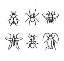 Ilustración de vector de icono de líneas de insectos