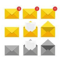 conjunto de iconos de correo. ilustración vectorial en diseño plano vector