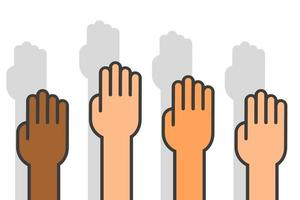No racism hand icons. Vector illustration in flat design