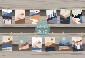 2022 table calendar week start on Sunday with mountain,landscape vector