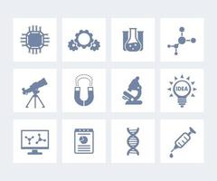 Science, laboratory study and research icons isolated on white vector