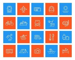 Travel, tourism, vacation linear icons set vector