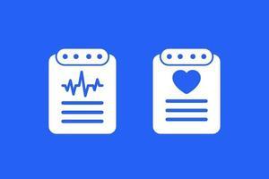 cardiogram, heart diagnosis report, cardio test vector icons