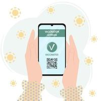 Vaccination certificate passport.  QR code about vaccinated COVID-19 vector