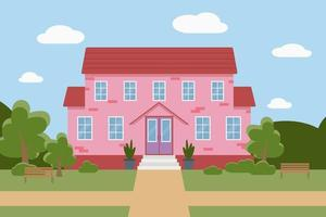 Flat vector illustration of a pink house with trees and benches