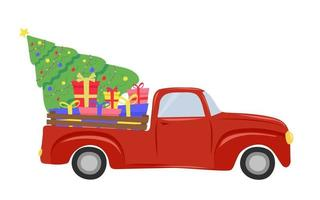 Christmas red truck with a Christmas tree and gifts vector