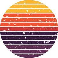 vintage sunset circle retro sunrise sun illustration clip art vector