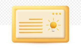 device icon with light bulb 3d cartoon style. vector
