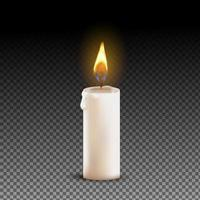 Vector 3d realistic white paraffin or wax burning party candle