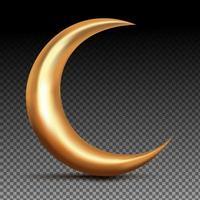 3d gold crescent moon vector