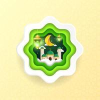 Green islamic ramadan badge vector