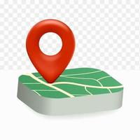 pin map icon location 3d on white transparent background vector