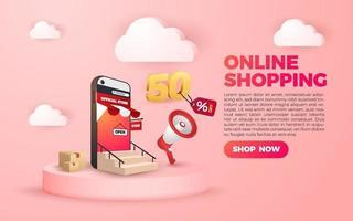 3D online shopping social media mobile applications websites sale vector