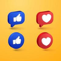 Social media love and like minimalist 3d button prremium vector