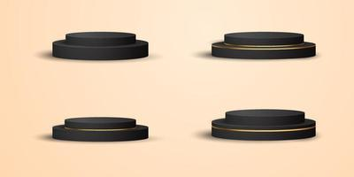 Realistic black gold product podium showcase set vector