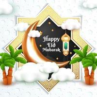 happy eid mubarak greeting card with 3d cartoon style vector