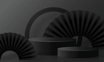 Podio redondo de viernes negro con estilo artesanal en el fondo. vector