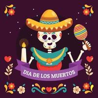 Smiling Skeleton Wearing Sombrero while Playing Maracas vector