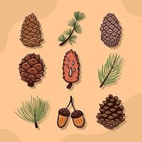 Pinecone Icon Collection in Autumn vector