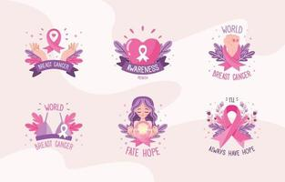 Cute Breast Cancer Awareness Stickers Set vector