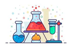Chemistry liquid flask on burning fire icon vector