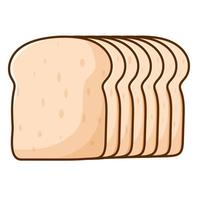 White bread illustration simple vector. sliced bakery brown isolated vector