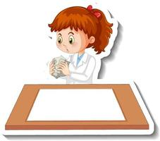 Scientist girl cartoon character with blank table vector