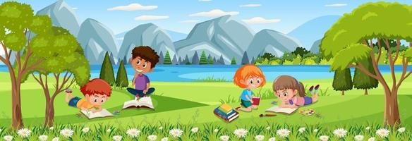Outdoor scene with many kids reading book at the nature park vector