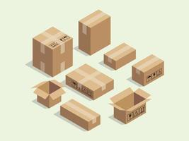cardboard isometric box for shipping packaging vector