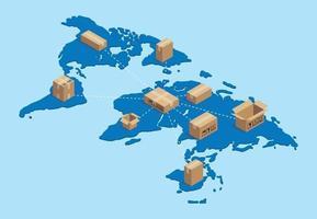 shipping worldwide international with cardboard networking vector