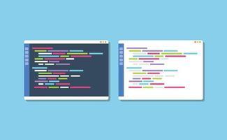 dark or white theme programming text editor compare vector