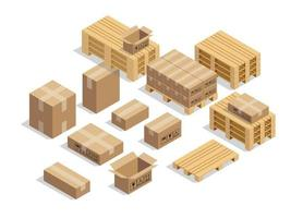 pallets for shipment with cardboard and isometric style vector