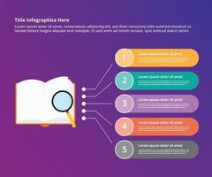 book search investigation research infographic vector