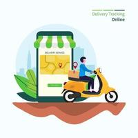 Delivery tracking online concept vector illustration.