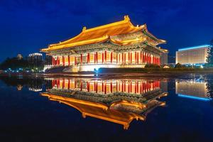 night scene of National Theater and Concert Hall in Taipei, taiwan photo
