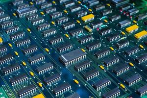 Electronic circuit board PCB  components detail photo