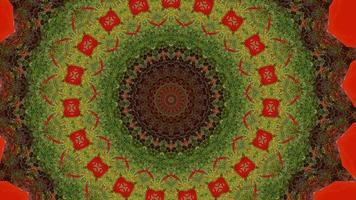 Green Wooded Texture Ring Over Vibrant Red Kaleidoscope Background video